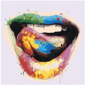 Яркие разноцветные губы 100х100 Раскраска картина по номерам на холсте