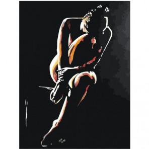Девушка сидящая в темноте Раскраска картина по номерам на холсте
