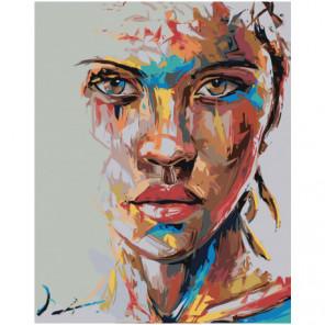 Радужное лицо девушки 100х125 Раскраска картина по номерам на холсте