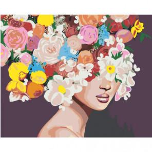 Девушка с пышными цветами на голове 80х100 Раскраска картина по номерам на холсте