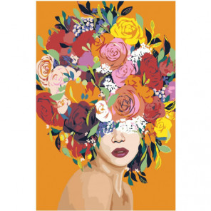 Яркая цветочная голова девушки 100х150 Раскраска картина по номерам на холсте