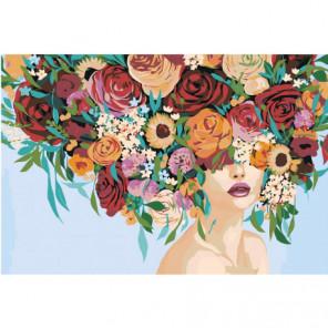 Девушка с пышным букетом на голове Раскраска картина по номерам на холсте