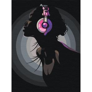 Девушка в ярких наушниках Раскраска картина по номерам на холсте с неоновыми красками AAAA-RS011-75x100