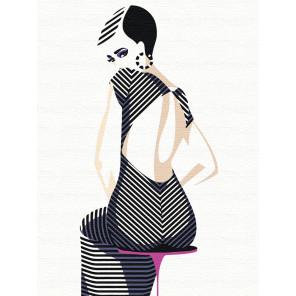 Девушка в полосатом платье Раскраска картина по номерам на холсте с неоновыми красками AAAA-RS046