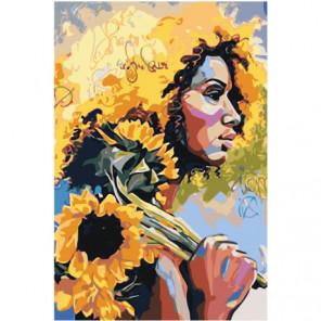 Девушка с подсолнухами 100х150 Раскраска картина по номерам на холсте