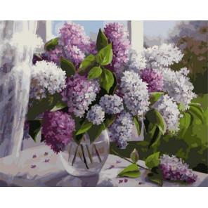 Сирень на окне Раскраска картина по номерам на холсте PK79050