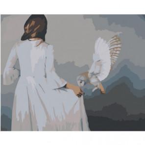 Сова и девушка Раскраска картина по номерам на холсте