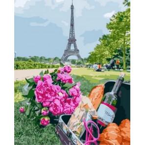 Французский багет и вино Раскраска картина по номерам на холсте MCA1039