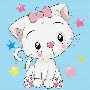 Милая кошечка Раскраска картина по номерам на холсте KH0838