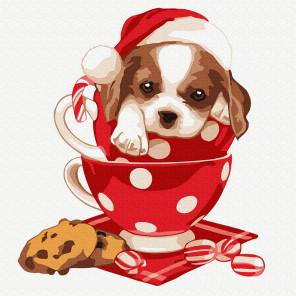 Новогодний щенок Раскраска картина по номерам на холсте KH0911
