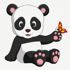 Панда с бабочкой Раскраска картина по номерам на холсте KH0914
