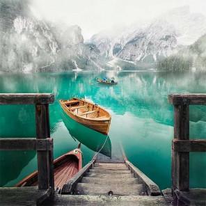 Пристань горного озера Алмазная мозаика вышивка на подрамнике Molly KM0694