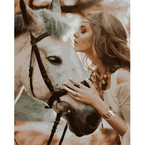 Лесная нимфа со своим конём Раскраска картина по номерам на холсте PK85031
