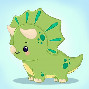 Зеленый динозаврик Алмазная мозаика вышивка Гранни AG2528