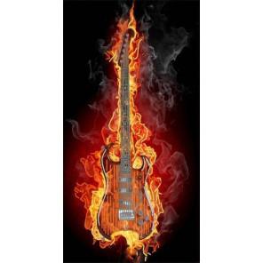 Гитара в огне Ткань с нанесенным рисунком для вышивки бисером Конек 8501