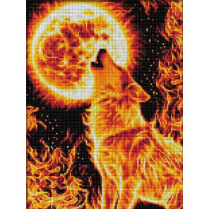 Огненный волк Алмазная вышивка мозаика АЖ-1855