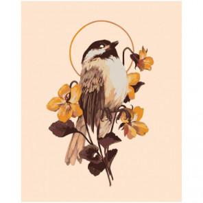 Цветок и птица Раскраска картина по номерам на холсте