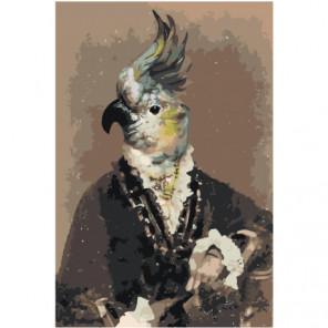Попугай в костюме Раскраска картина по номерам на холсте