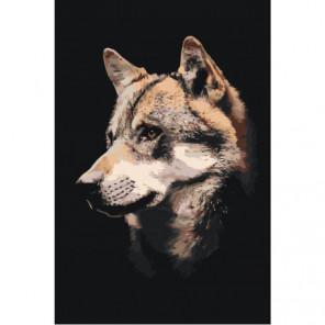 Морда волка 100х150 Раскраска картина по номерам на холсте