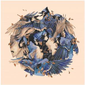 Синие птицы фэнтези Раскраска картина по номерам на холсте