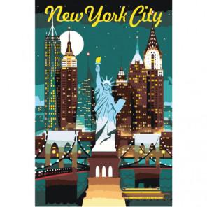 Небоскребы и Статуя Свободы в Нью-Йорке, США Раскраска картина по номерам на холсте
