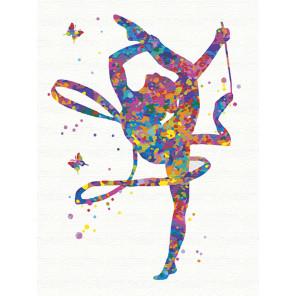 Гимнастка с лентой Раскраска картина по номерам на холсте с неоновыми красками AAAA-RS124