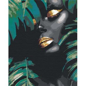 Африканка и листья Раскраска картина по номерам на холсте с металлической краской AAAA-RS107
