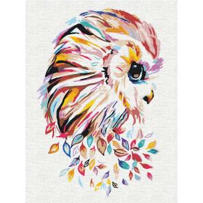 Сова цветная 60х80 см Раскраска картина по номерам на холсте с неоновыми красками AAAA-RS132-60x80