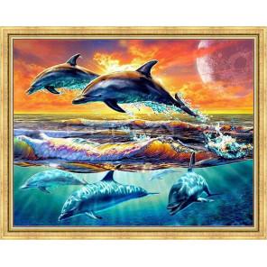 Счастливые дельфины Алмазная мозаика на подрамнике WB2348