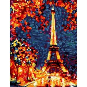 Ночной Париж Раскраска картина по номерам на холсте GX39206