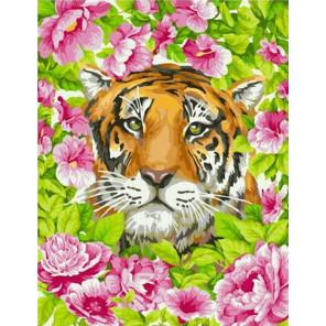 Тигр в цветах Раскраска картина по номерам на холсте GX39087