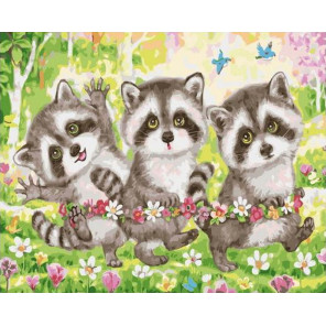 Дружные енотики Раскраска картина по номерам на холсте GX38897