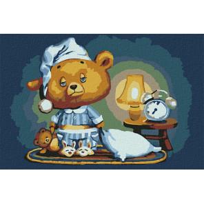 Сонный медвежонок Раскраска картина по номерам на холсте