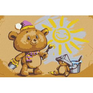 Художник медвежонок Раскраска картина по номерам на холсте