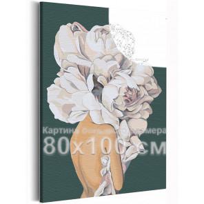 Девушка 80х100 см с цветком на голове на зеленом фоне Раскраска картина по номерам AAAA-RS111-80x100