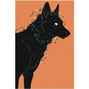 Черный пес Раскраска картина по номерам на холсте