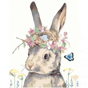 Кролик с цветами 100х125 Раскраска картина по номерам на холсте