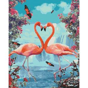 Пара фламинго Раскраска картина по номерам на холсте U8010