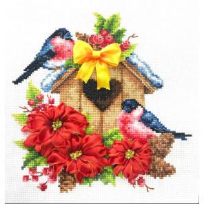 Снегири Набор для вышивания счетным крестом и лентами Многоцветница МЛН-02