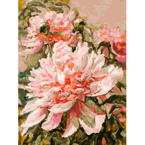 Нежный пион Раскраска картина по номерам на холсте Белоснежка 395-AS