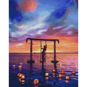 Водные фонарики на закате Алмазная вышивка мозаика APK11127
