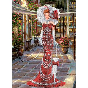 Дама в красном Канва с рисунком для вышивки бисером Каролинка ТКБЛ 3043 1