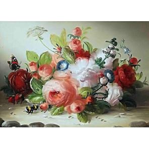 Шмель и розы Ткань для вышивки лентами Каролинка КЛ-3049