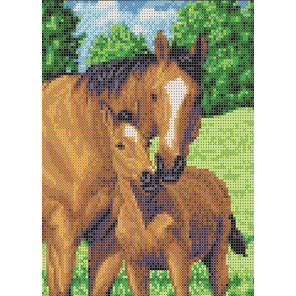 Мамы и их зверята. Лошади Набор для вышивания бисером Каролинка КБЖН(Ч) 4037