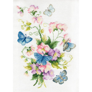 Душистый горошек и бабочки Набор для вышивания Многоцветница МКН 54-14