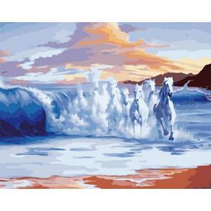 Скачущие волны Раскраска картина по номерам на холсте PK11416