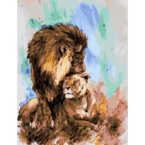 Лев и львица Раскраска картина по номерам на холсте PK11504