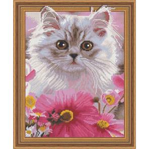 Котенок в цветах Алмазная вышивка мозаика Color kit TSGJ1085