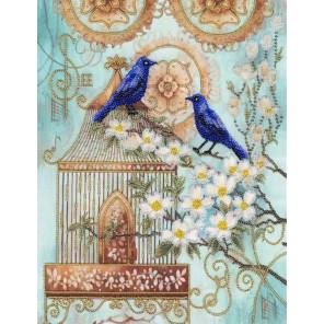 Синие птицы счастья Набор для вышивания бисером Золотое Руно РТ-027