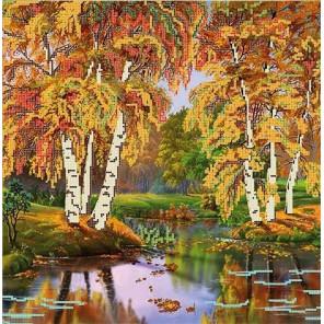 Осень Ткань с рисунком для вышивки бисером Божья коровка 0139